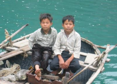 Photo of boys on boat
