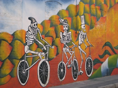 Mural of skeletons on bicycles, Valparaiso
