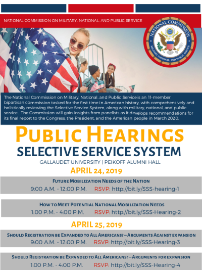 Flyer for hearings on Selective Service