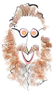 caricature of Edward Hasbrouck by Rhoda Grossman, www.digitalpainting.com