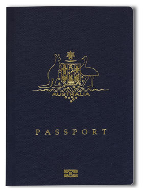 RFID logo on cover of Australian passport