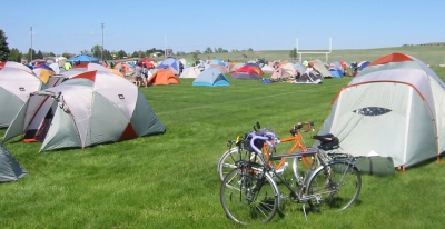 tents and bicycles on football field