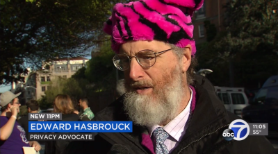 Edward Hasbrouck in a pussy hat outside Peter Thiel's house in San Francisco