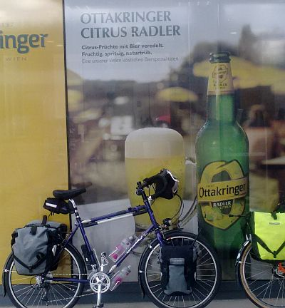 Bicycle with sign for Citrus Radler