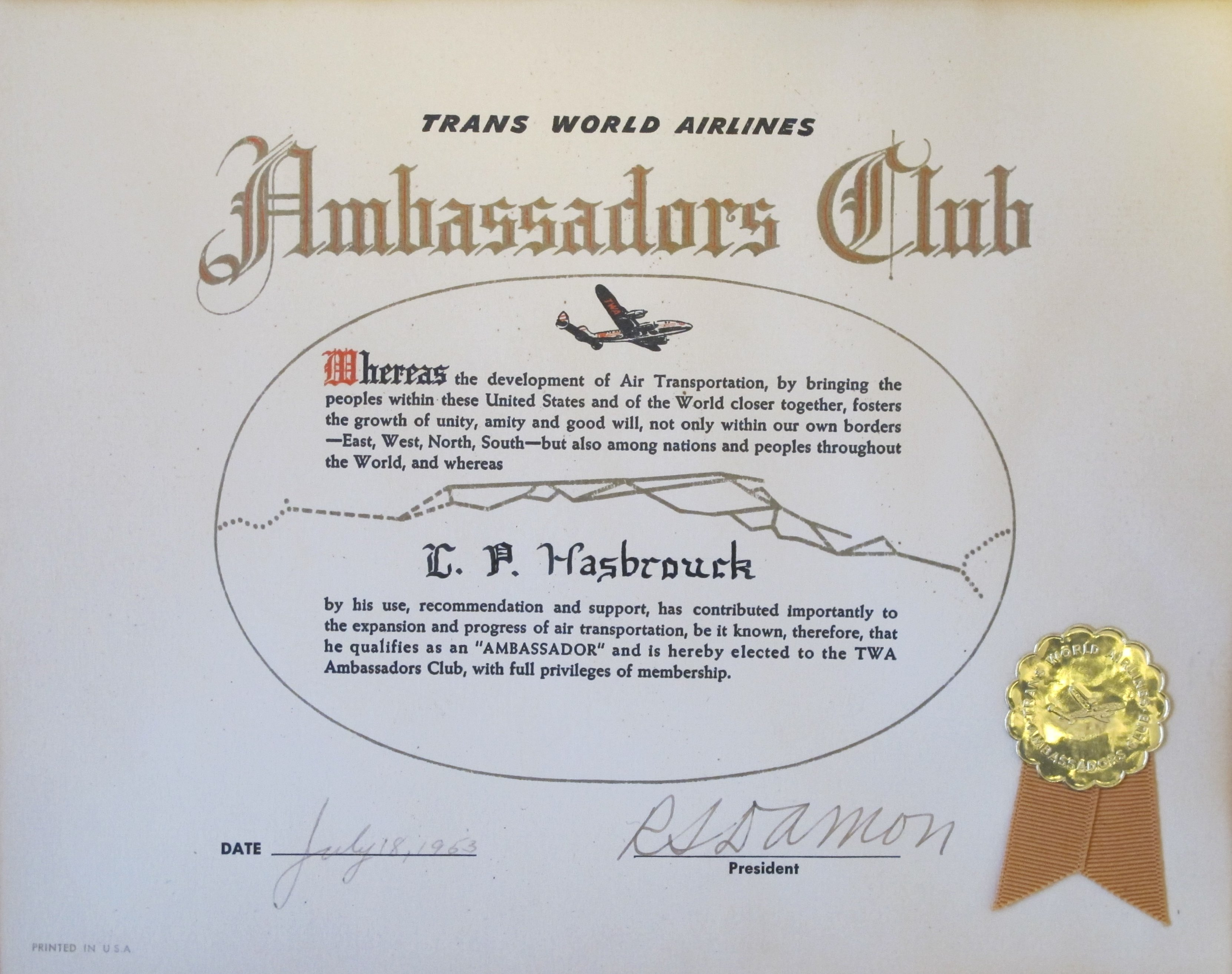 The practical nomad blog have travelers lost the class war twa ambassador club membership certificate 1953 monicamarmolfo Image collections