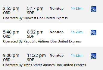 "Schedule of ""United Express"" flights from Chicago O'Hare to Louisville on 9 April 2017"