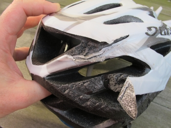 Battered bicycle helmet